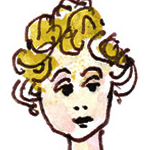 caricature of Colette Rossant, by husband James Rossant